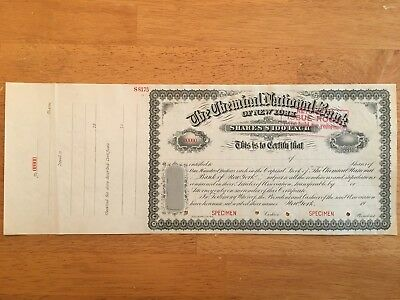 The Chemical National Bank Of New York   Shares  100 Each   Specimen Rare