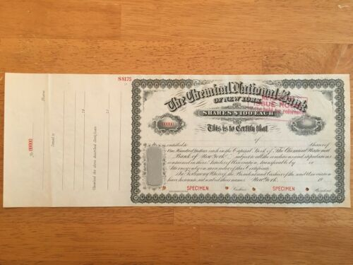 The Chemical National Bank of New York - Shares $100 Each - Specimen RARE!!
