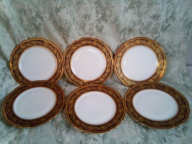 "6 BERNARDAUD Limoges GOLD COBALT VENDOME dinner plates 10.5"" esquisit set mint"