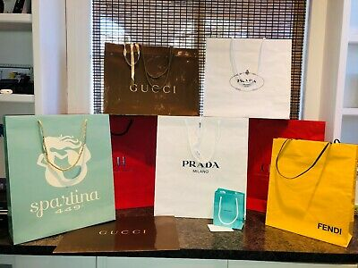 Hi End Designer Brand Store Bags - Lot of 9 - Herrera/Gucci/Tiffany/Prada/Fendi