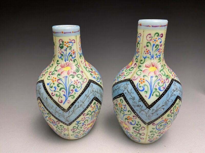 Pair Of Thomas Webb & Sons Moroccan Tapestry Glass Enameled Vases