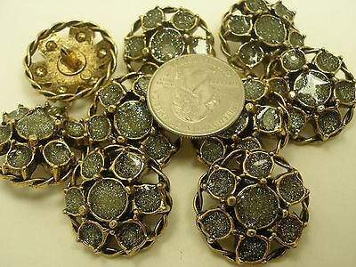 (New Lots of Antique Gold Metal Buttons Flower w/ Glitter 1 1/16
