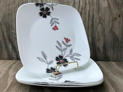 Corelle Dishes Mandarin Flower Square Vitrelle Large Dinner Plates Set Of 4 for sale  Shipping to United Kingdom