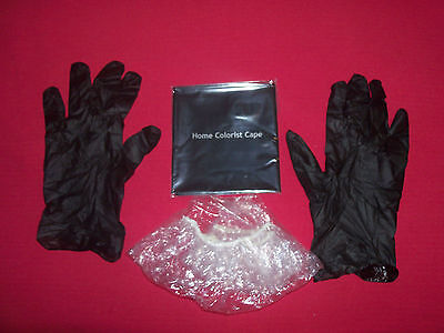 NEW HAIR BLEACH,COLOR,CUT,DYE,PERM PLASTIC CAPE VINYL GLOVES & CAP KIT FREE SHIP
