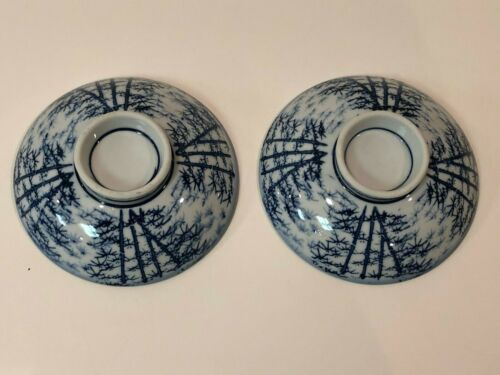 A Pair of Vintage Hand Painted Japanese Porcelain Rice Bowl Lids