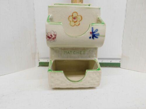 J3  Vintage Ceramic Wall or standing Match Holder Hand Painted Japan Matchbox