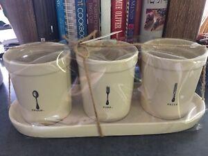 Rae Dunn mugs and utensils holder