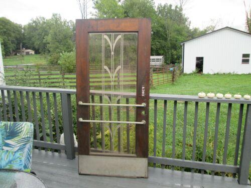 Original Art Deco Etched Glass Solid Wood Store Theatre Door Modernism