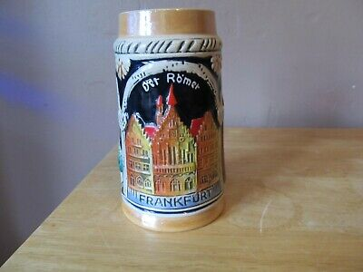 Vintage WEST GERMAN Small Ceramic FRANKFORT Beer Stein w/3 Castles~5
