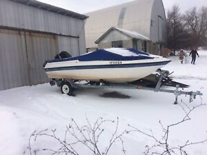 15ft bow rider Boat, motor and trailer for sale