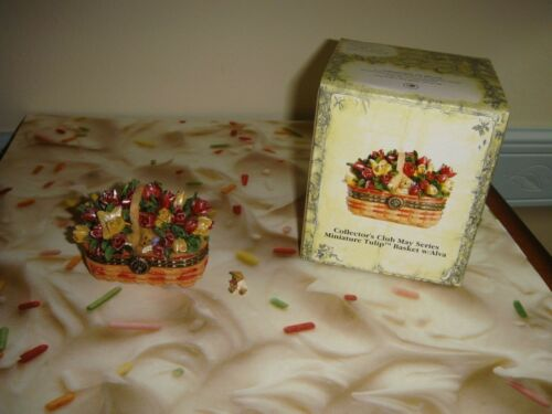 Longaberger Boyds Bears Trinket Box May Series Tulip Basket  W/Alva Hinged Box