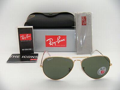 Ray-Ban Aviator 3025 Gold Frame Natural Green Polarized RB 3025 001/58 55mm (Ray Ban Aviator Gold Green Polarized)