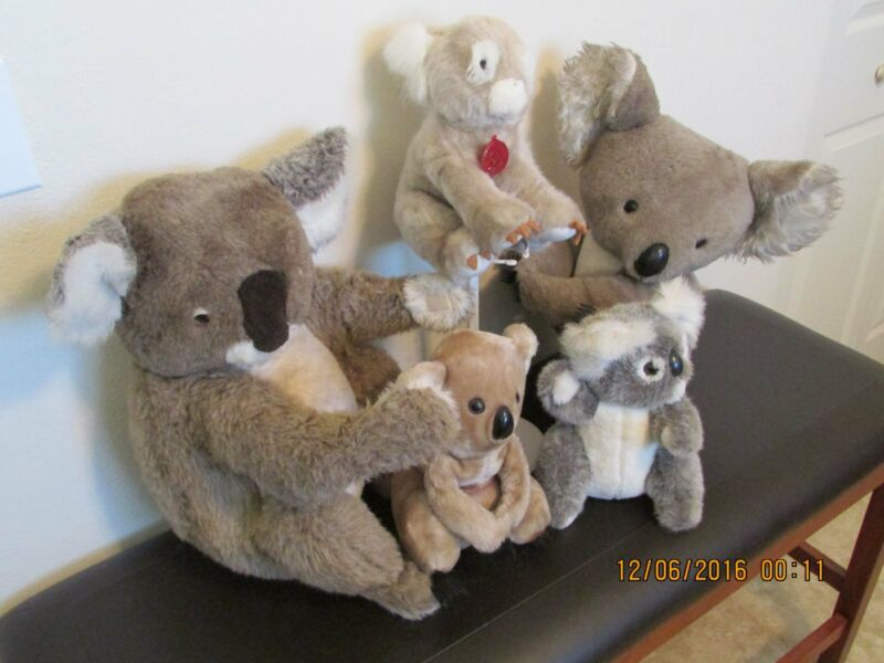 "(5)  Five Plush Stuffed     ""KOALAS""    (VINTAGE)"