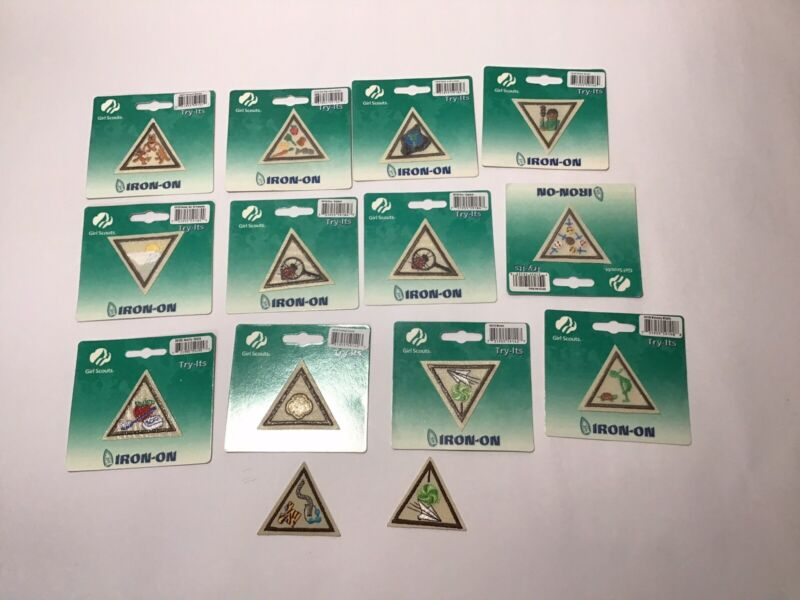 Girl Scouts Triangle Try-its Iron On Patches Lot of 14 New