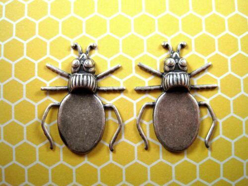 Brass Beetle Setting Stampings x 2 - 116RAT