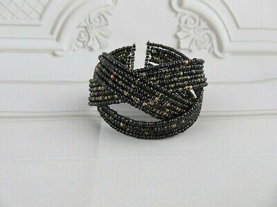 Criss Cross Design Seed Bead Cuff Bracelet Boho Bohemian Style Seed Bead Crosses Bracelet