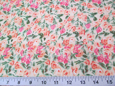 Discount Fabric Quilting Cotton Peach, Pink and Green Floral K405 - Pink Discount