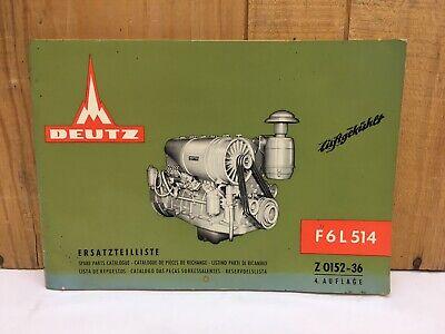 1967 Khd Deutz Diesel Air-cooled F6l 514 Spare Parts Catalog Z 0152-36