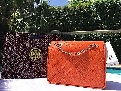 TORY BURCH FLEMING PATENT MEDIUM CHAIN BAG MANDARIN ORANGE NWT $465 & GIFT BAG