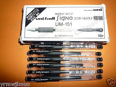 Mitsubishi Uni-ball Signo Dx Um-151 0.38 Gel Pen Waterproof Black 6pcs
