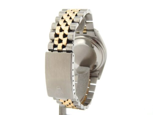 Rolex Datejust Mens Two-Tone 14K Gold Stainless Steel White & Black Roman 16013