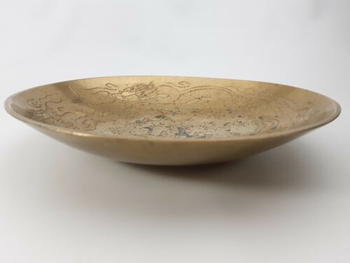 """Vintage - Brass Double Dragon - Shallow Bowl 10"""" Engraved Etched Chinese Dish"""