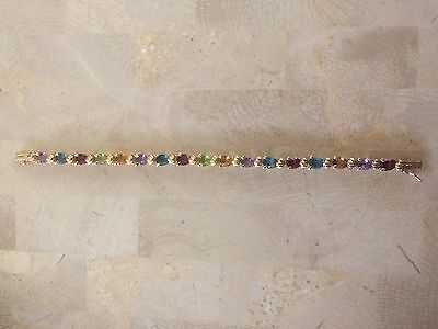 "14K Yellow Gold 11.5 Ct Pear Cut Gemstone Tennis Bracelet 7"", 9.82g"