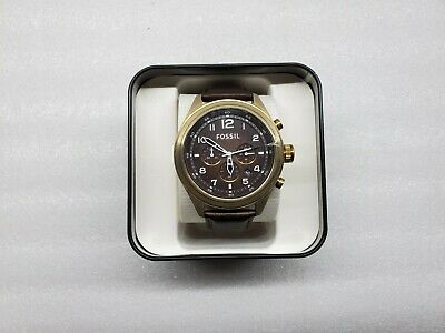 FOSSIL VINTAGE BRONZE CHRONOGRAPH DATE BROWN LEATHER MEN'S WATCH DE5002 NEW
