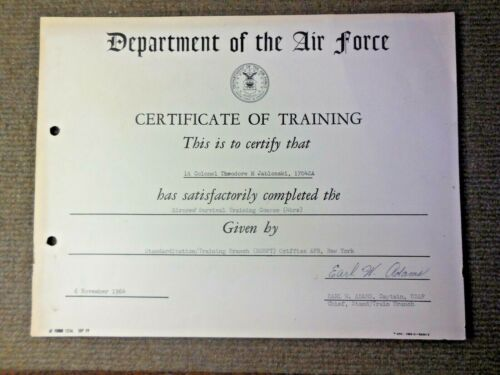 1964 Vietnam War USAF Certificate of Training Air Crew Survival Griffiss AFB NY