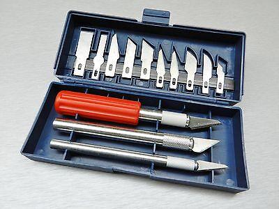 16 PC HOBBY KNIFE SET ARTS & CRAFT KIT - CUT & TRIM  3-HANDLES & 13 Blades BOXED