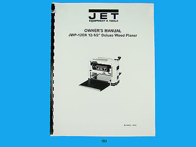 Jet  Jwp-12dx 12 Wood Planer Owners Manual 183