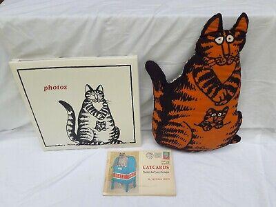 VINTAGE KLIBAN CAT PILLOW, PHOTO ALBUM & VICTORIA CHESS CATCARDS