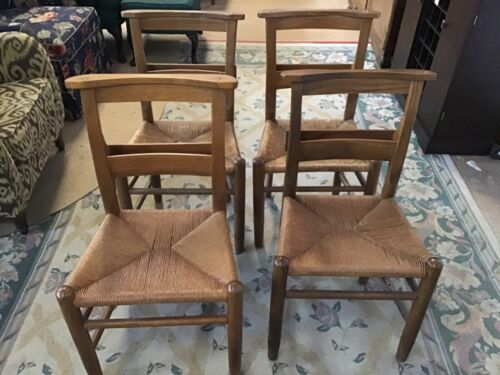 Vintage Rush Seated Wooden Church Chairs with Bible Rack