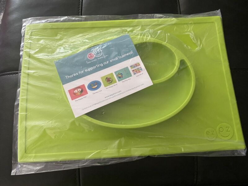 EZPZ Happy Mat Lime Green Non-Slip Silicone Baby Toddler Plate New