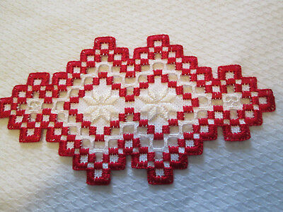 Hardanger Doily  Norwegian Embroidery  Hand Made  -Red