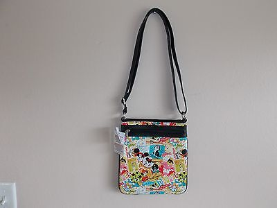 Disney Park Mickey Minnie Friends Icons Collage Pattern Cross Body Bag Purse NEW