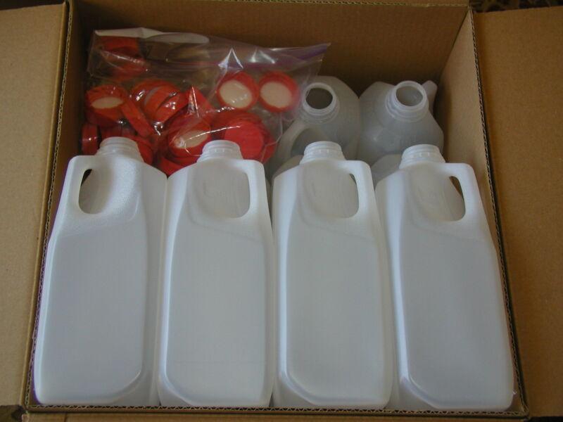 9-1/2 GALLON HDPE FOOD GRADE PLASTIC MILK JUGS WITH TAMPER PROOF SCREW CAPS