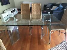 Glass table and 6 cane chairs Yowie Bay Sutherland Area Preview