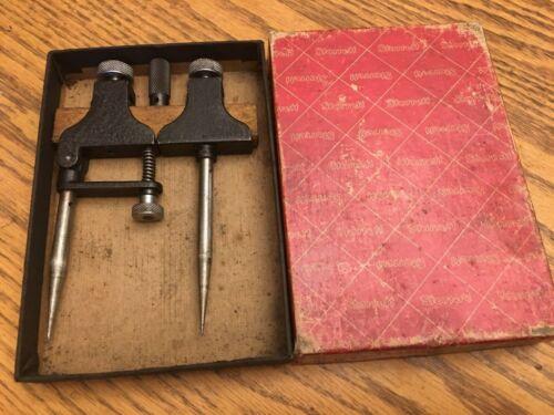 Vintage Set Starrett No. 50-A Adjustable Trammel Points Collectible Machinist