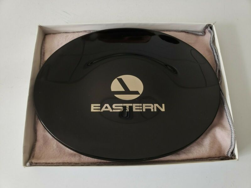 Eastern Airlines Logo Smoked Glass Dish Tray Black Gold Candy Vintage Travel Ad