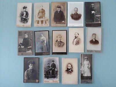 Konvolut von 14 CDV / Kabinettfotos, Portraits