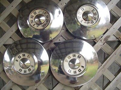 FORD 1955 1956 FAIRLANE THUNDERBIRD T BIRD DISH HUBCAPS WHEEL COVERS CENTER CAPS