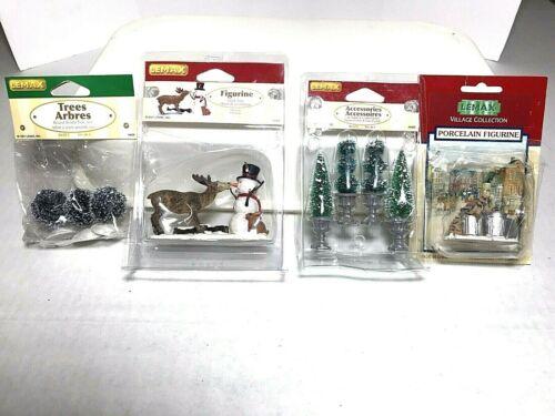 Lot Of 4 LEMAX Village Collection Porcelain Figurines_Snowman Reindeer Raccoon