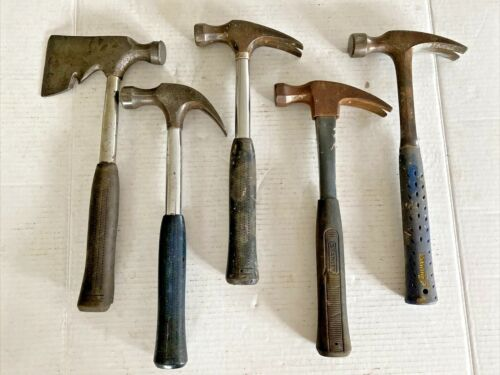 VINTAGE 4 STANLEY & ESTWING CLAW HAMMER and HATCHET LOT CARPENTERS