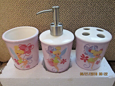 New Disney Tinkerbell bath set accessories  ceramic 3 piece - Tinkerbell Accessories