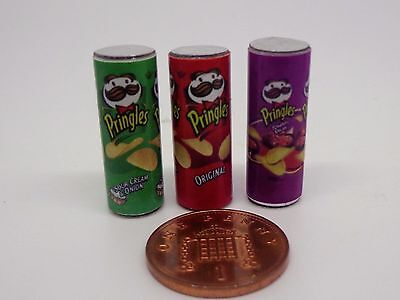1:12 Scale 3  Pringles Packets Miniature Dolls House Food Snacks Accessory