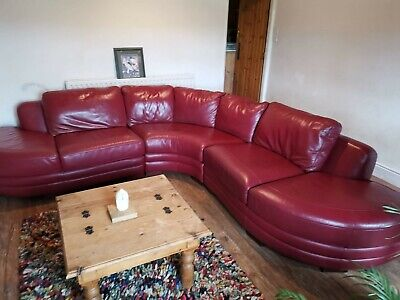 Red Leather corner sofa Used