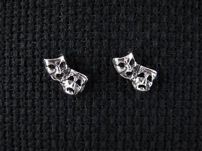 COMEDY-TRAGEDY MASK Sterling Silver Stud / Post Earrings + FREE SHIP & Gift Box](Tragedy Mask)