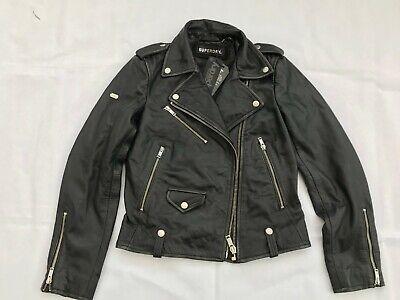 SUPERDRY Rylee Women's Leather Biker Jacket Black - SIZE XS