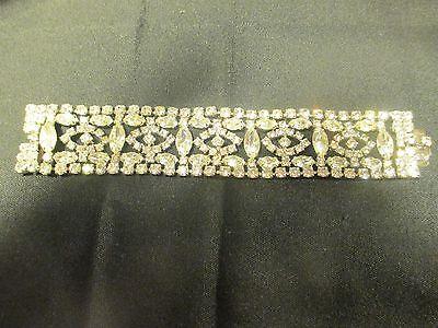 Vintage Signed WEISS Crystal Clear Rhinestone WIDE BRACELET Silver Tone Jewelry